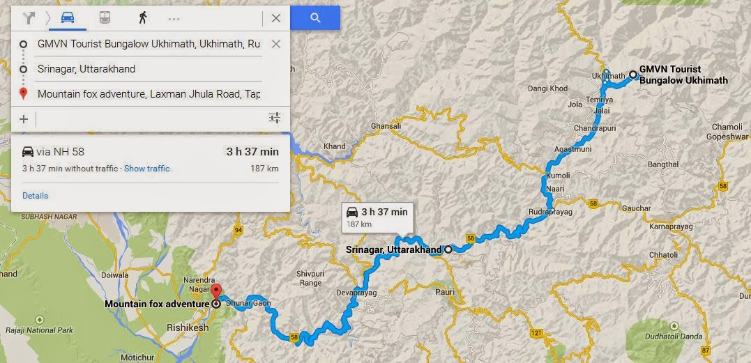Ukhimath to Rishikesh route map