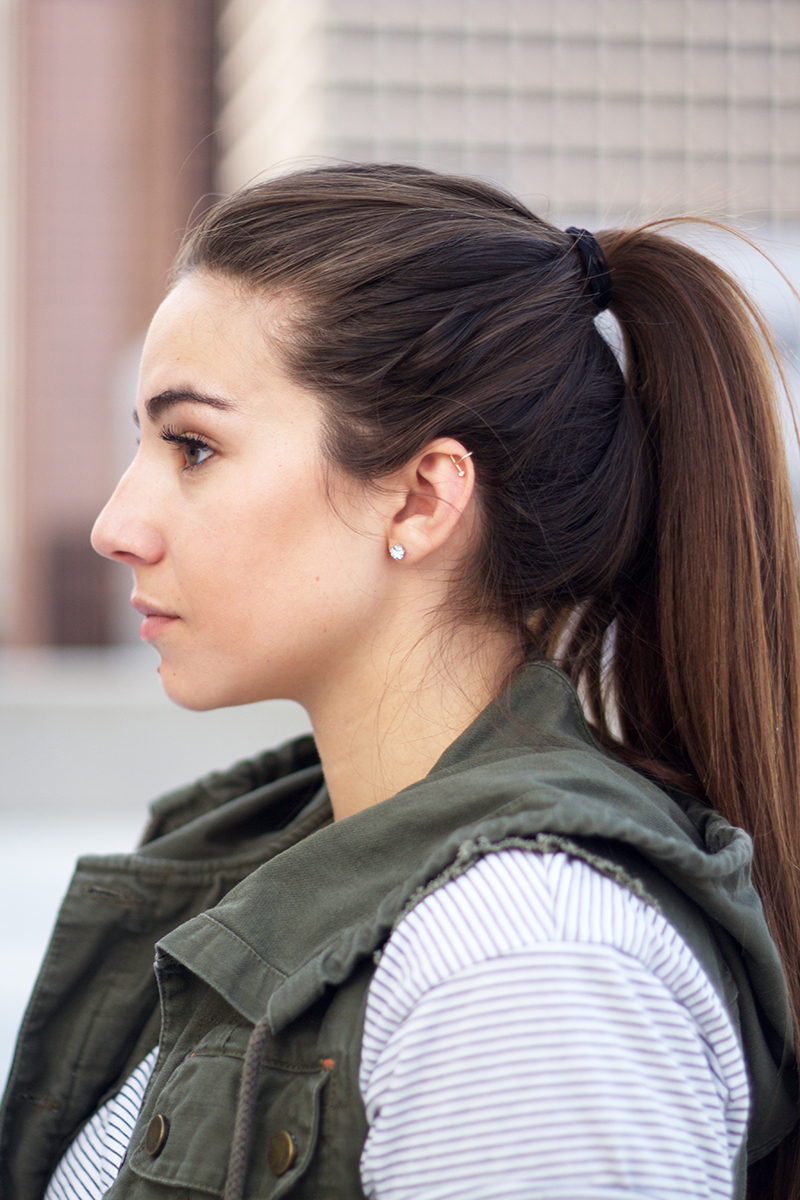 high ponytail on brunette with long hair