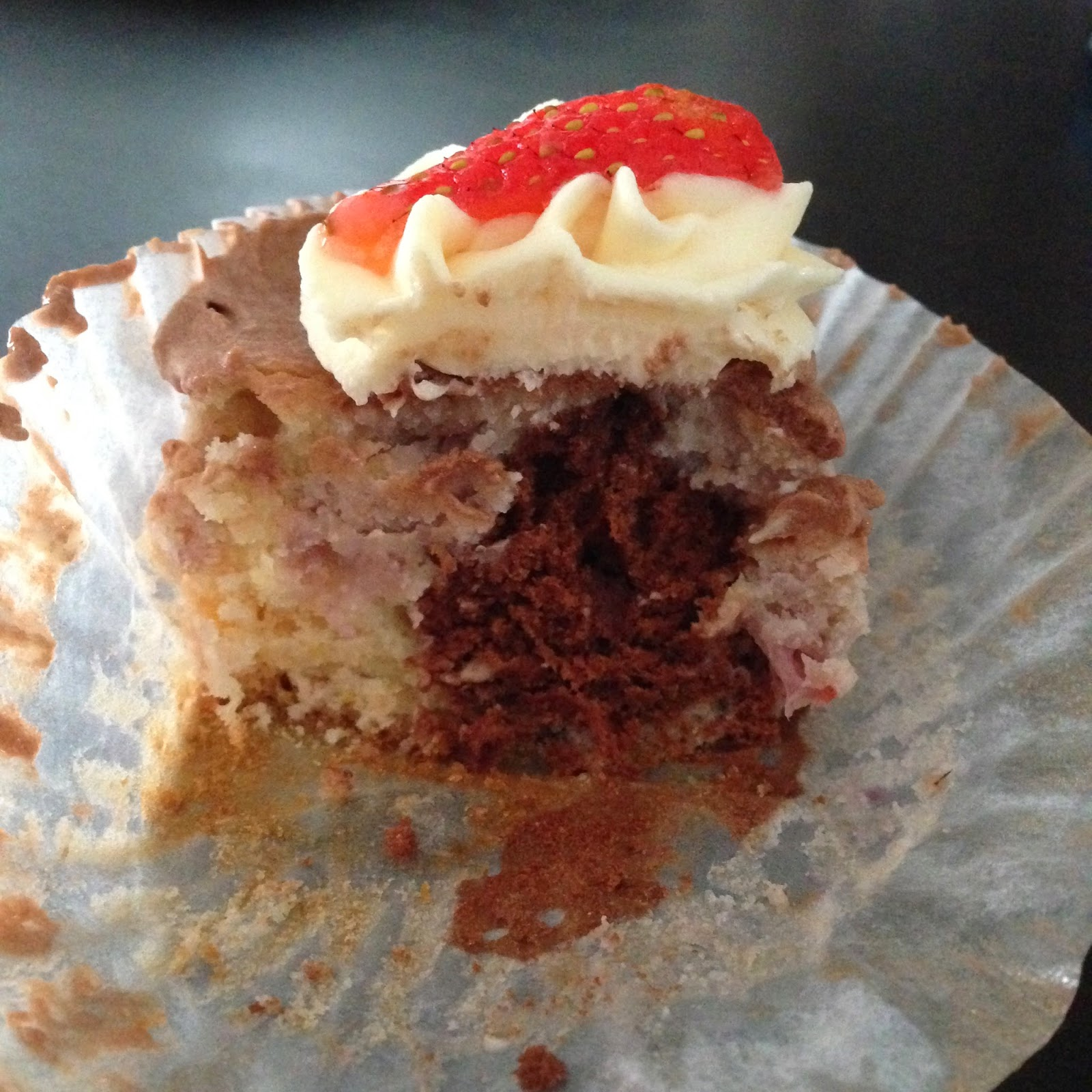 The inside of neapolitan cupcake by SheaSonia