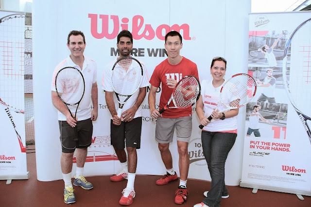 Mike Miringoff, Rohan Gajjar, Si Yew Ming and Sharmin Photographer at Wilson Spin Effect Racquet launch in Malaysia in 2014.