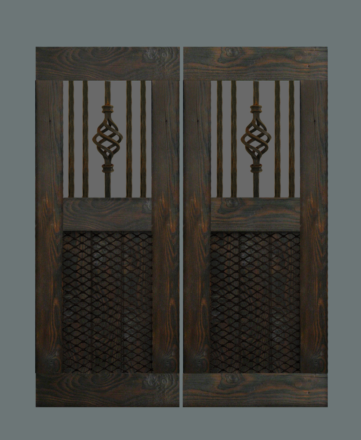 Handcrafted swinging saloon doors with reclaimed wrought iron and industrial mesh. & Man Cave Industries: Handcrafted Industrial Swinging Saloon Doors