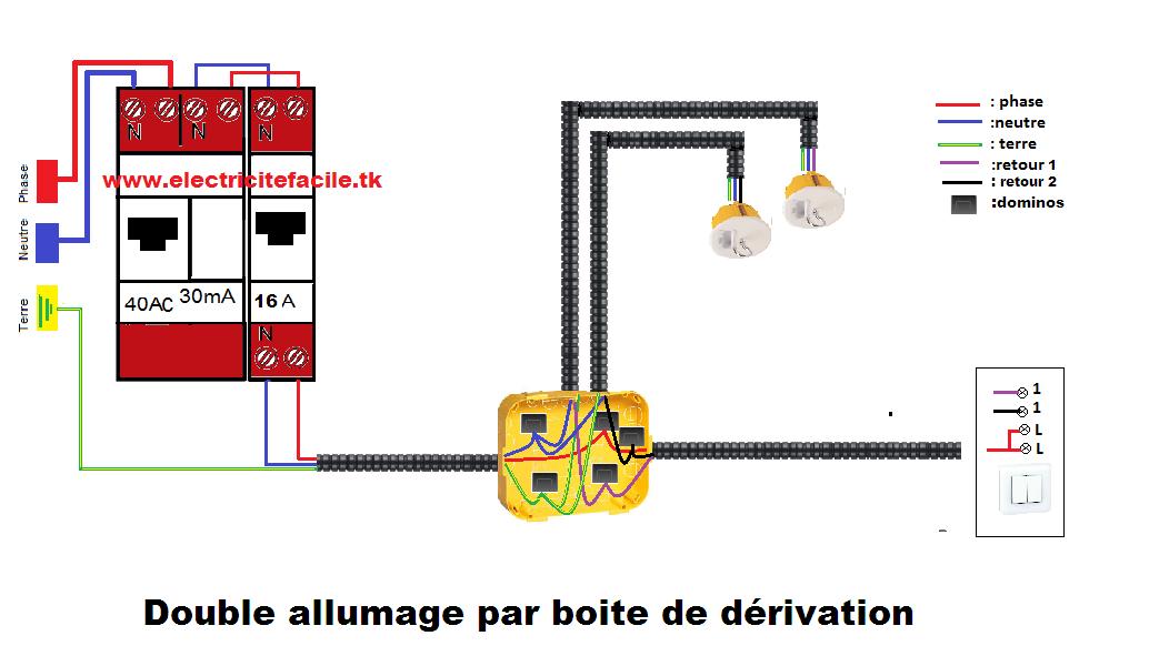 installation montage raccordement double allumage par. Black Bedroom Furniture Sets. Home Design Ideas