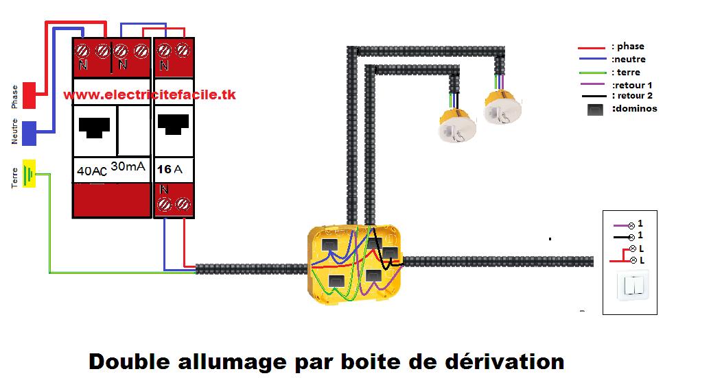 installation electrique installation montage raccordement double allumage par boite de d rivation. Black Bedroom Furniture Sets. Home Design Ideas