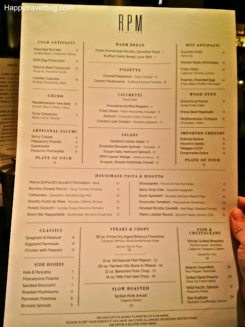 Menu at RPM Italian restaurant