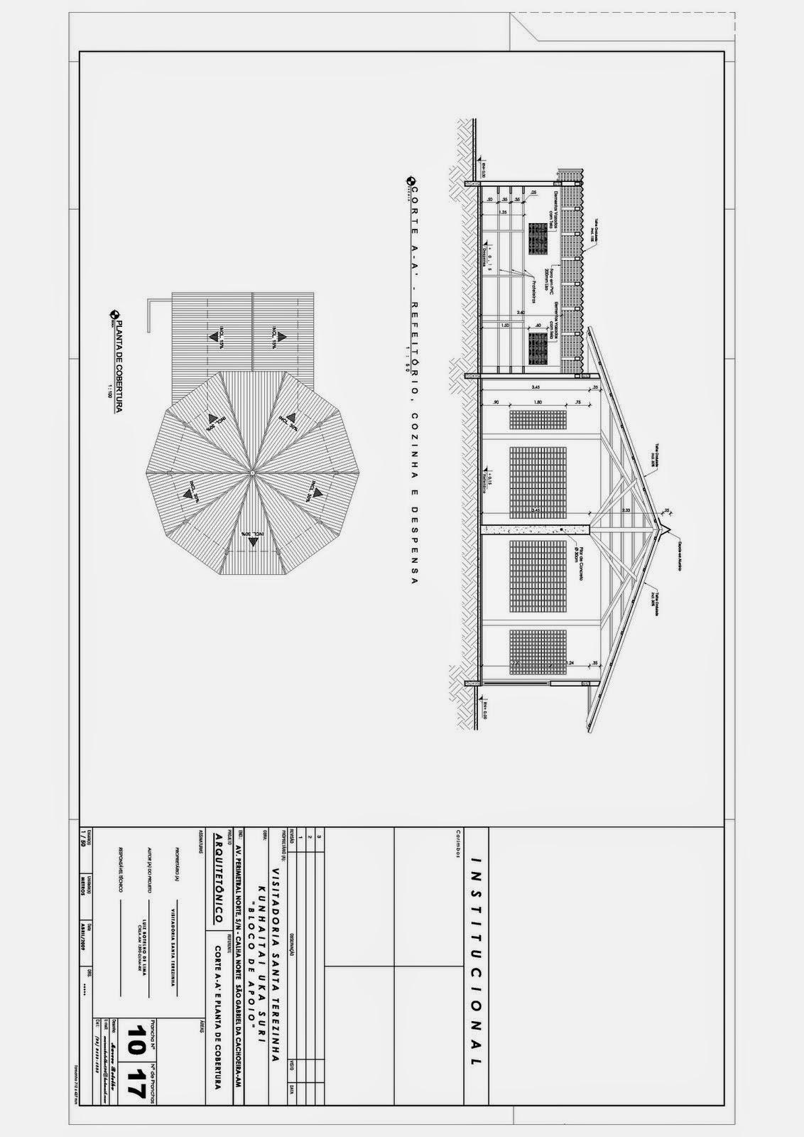 : Projeto Religioso Planta Baixa Corte e Planta de Cobertura de  #373737 1132 1600