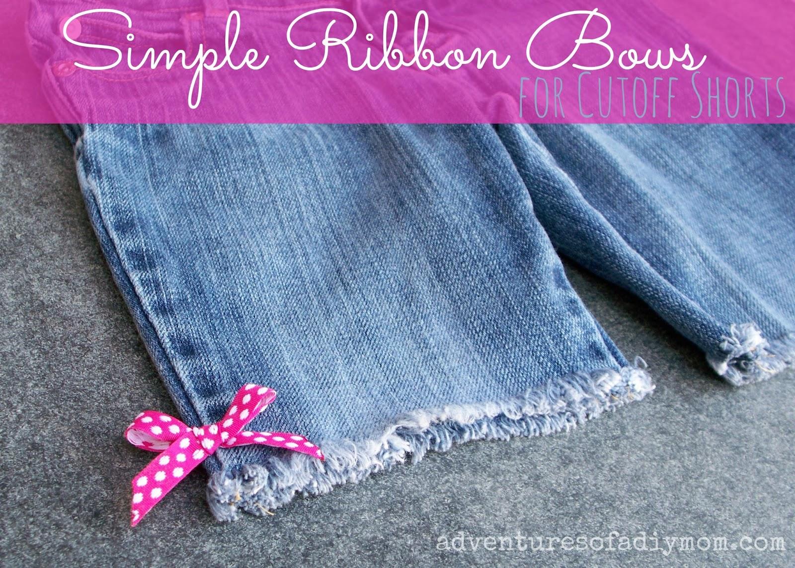 Cutoff Jean Shorts with Simple Ribbon Bows