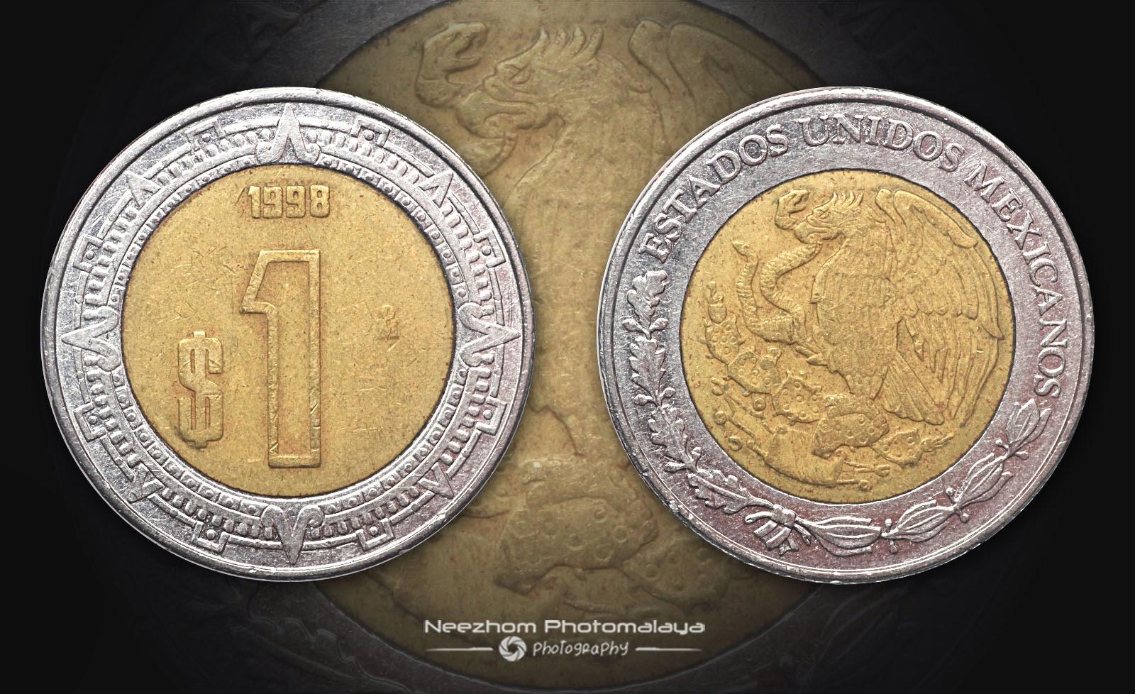 Mexico bi metal coin 1 Peso 1998
