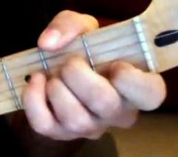 posisi kord A-minor pada gitar