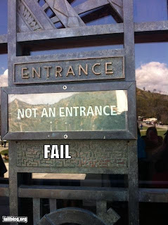 entrance labelling fail