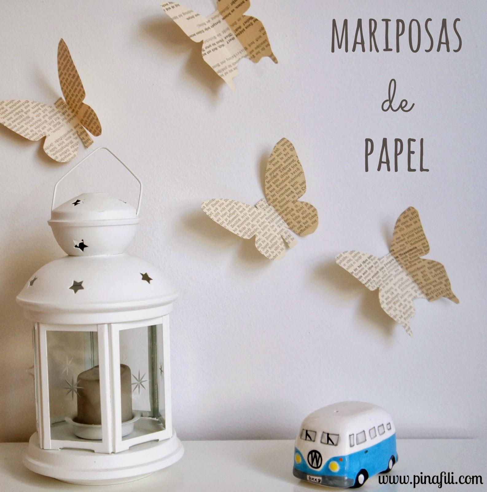 Pinafili diy mariposas de papel para decorar - Manualidades de papel para decorar ...