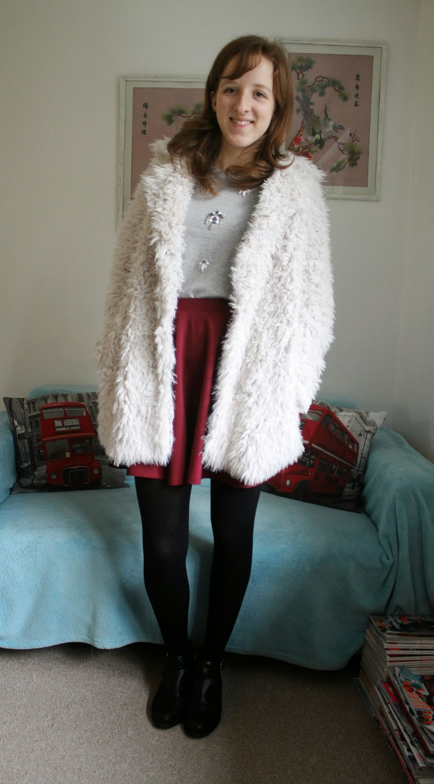 OOTD Statment Jumper and Fluffy Coat