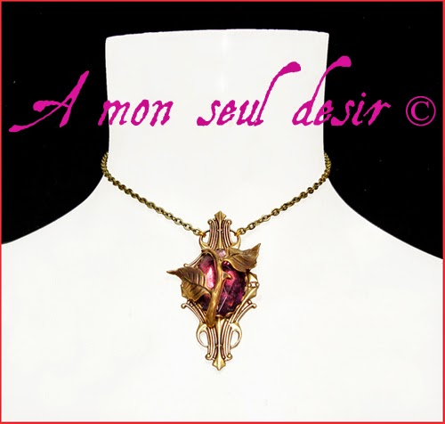 Collier épine de rose rosier fleur floral violet améthyste bronze purple elven necklace amethyst thorn