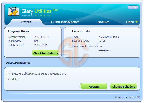 Disk Cleaner; Registry Cleaner; Shortcuts Fixer; Uninstall Manager611