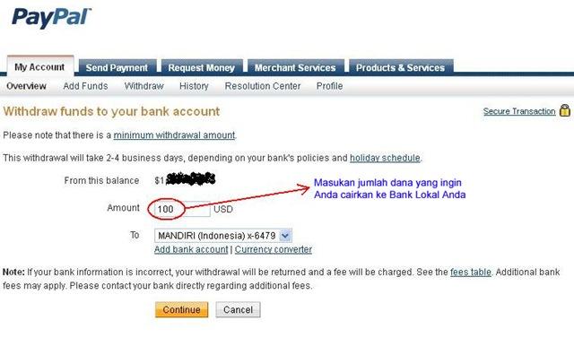 Withraw dari PayPal ke Bank Lokal