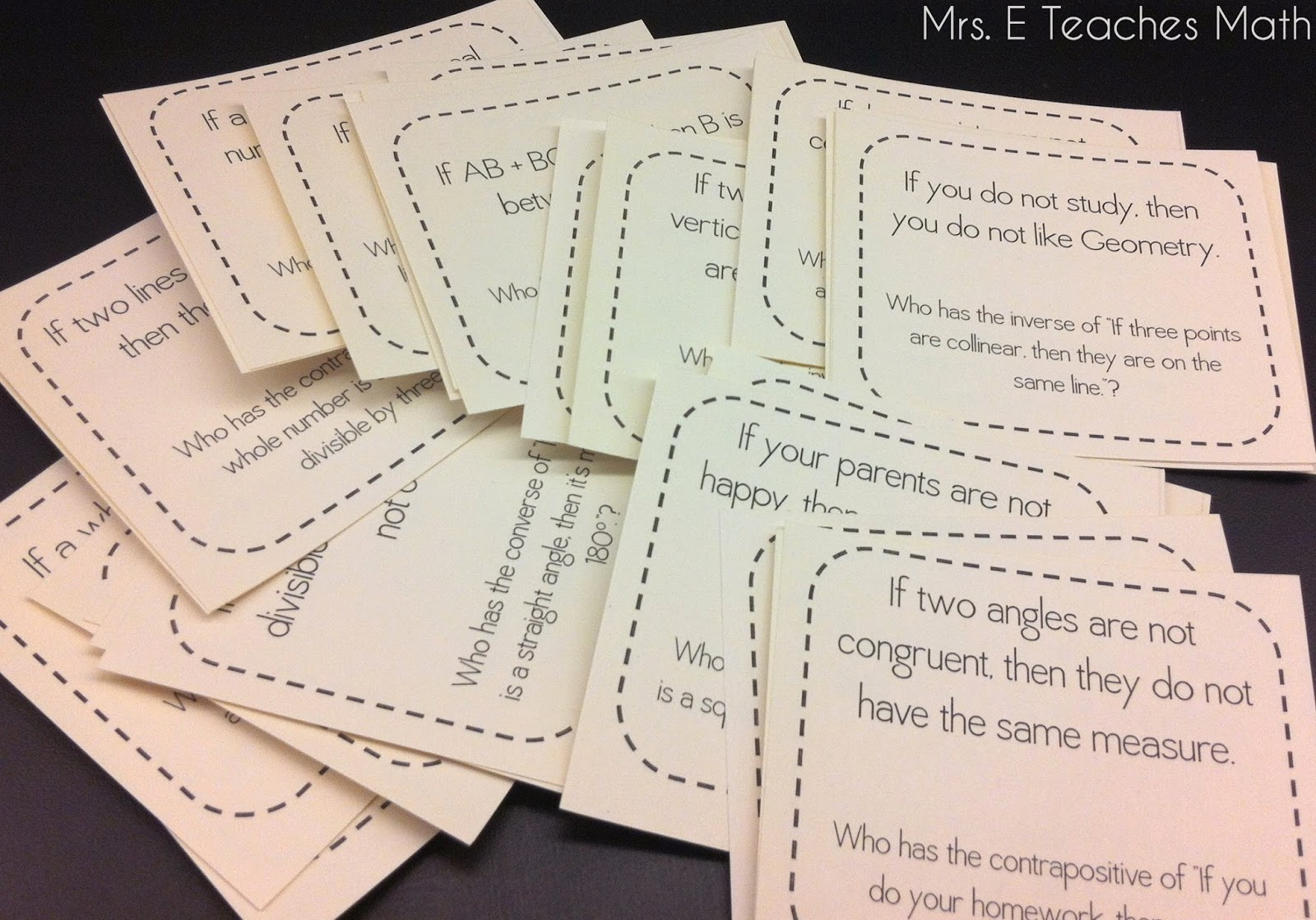 "Conditional Statements ""I Have... Who Has..."" Game   mrseteachesmath.blogspot.com"