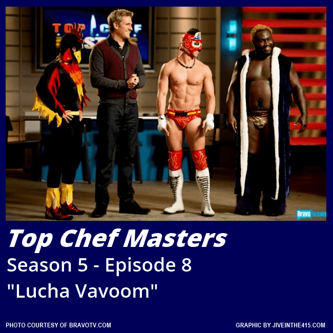 """Top Chef Masters"" Season 5 - Episode 8 ""Lucha Vavoom"" performers with host Curtis Stone."