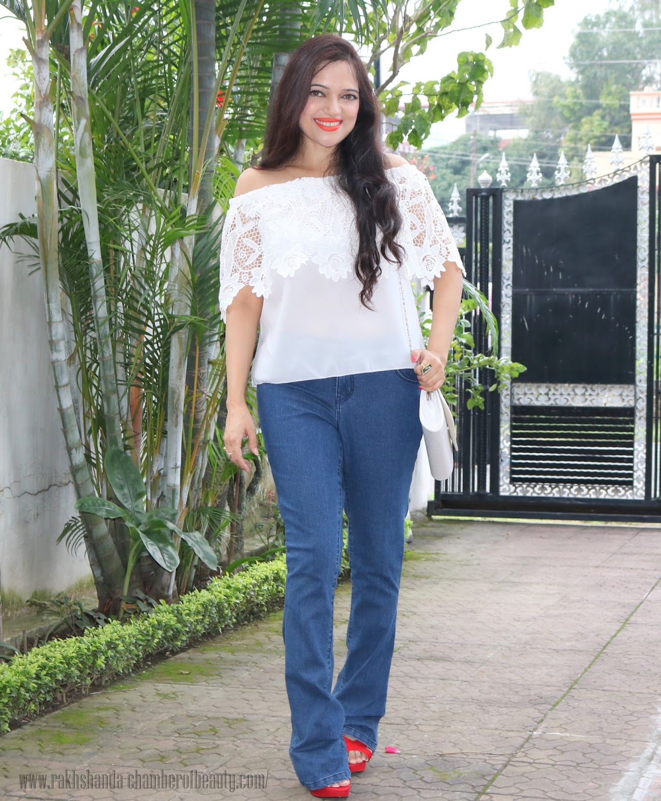 Styling an off-shoulder lace top- OOTD, How to wear off shoulder, cndirect.com, Dorothy Perkins flared jeans, retro look, Indian fashion blogger, Chamber of Beauty