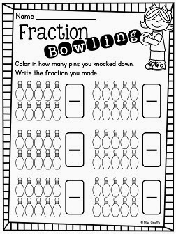 Worksheets Fraction Worksheets For 1st Grade miss giraffes class fractions in first grade free bowling math game printable and directions