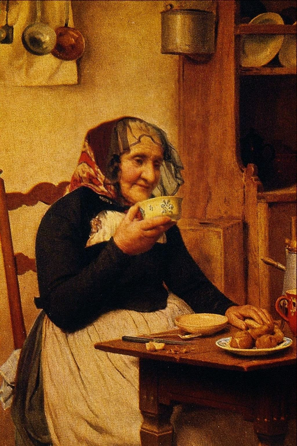 albert anker, windowed, drinking tea