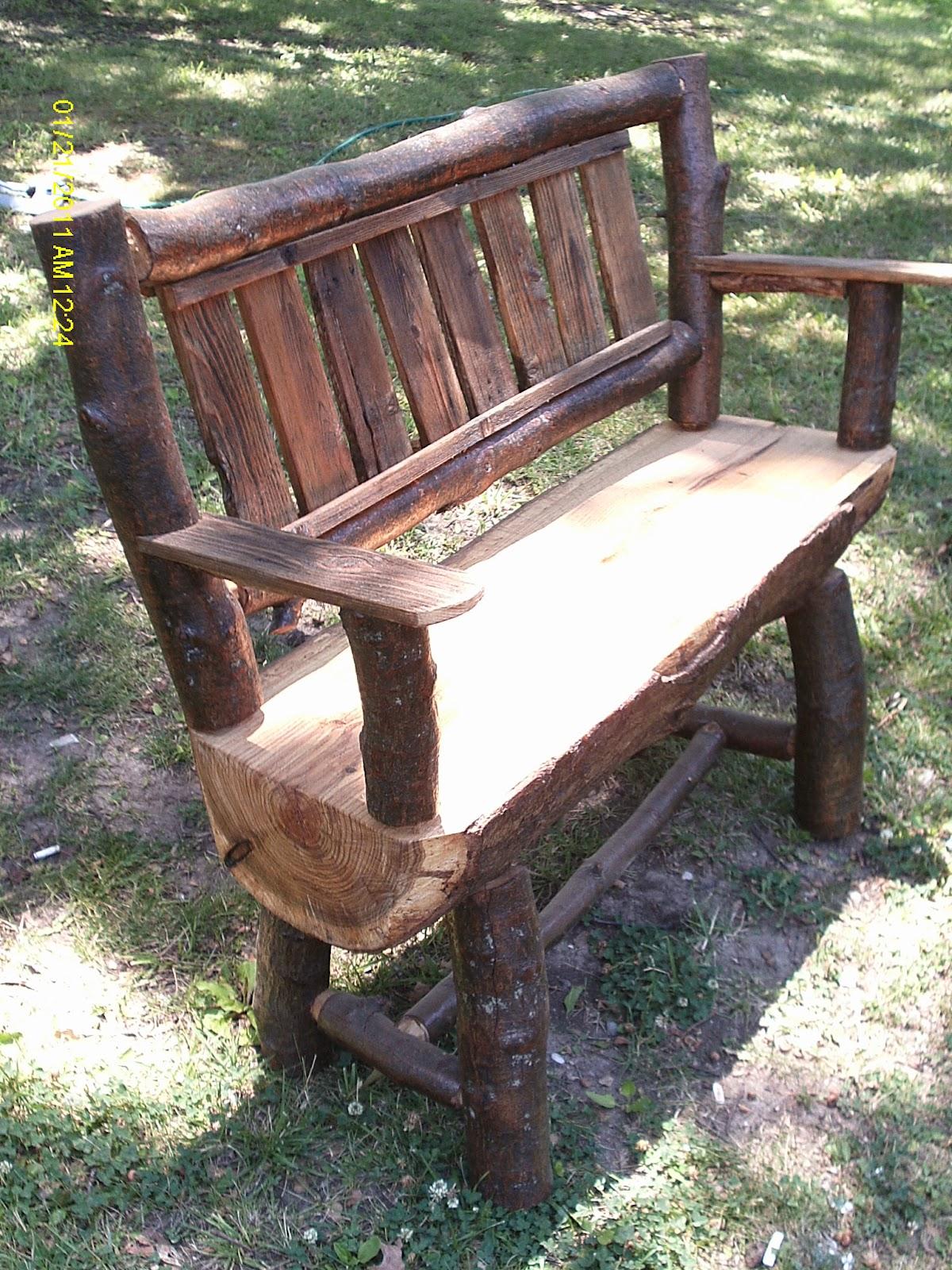 Handmade rustic log furniture oak bench and coffee
