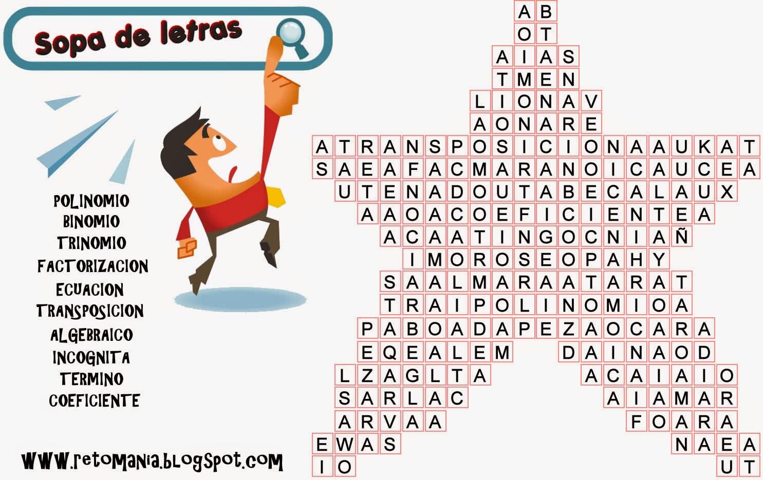 Sopa de letras, Algebra, Sopa de letras algebraica