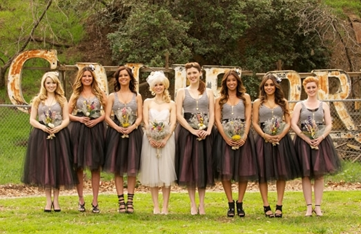 Striped Bridesmaid Dresses