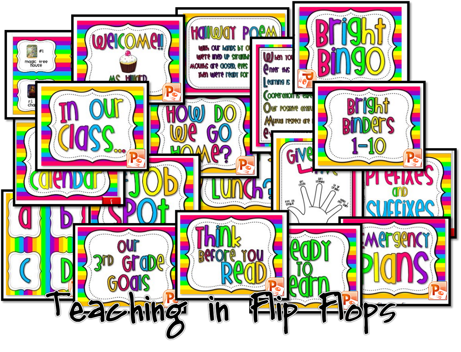 Teaching in flip flops colorful classroom blank labels for Room labels