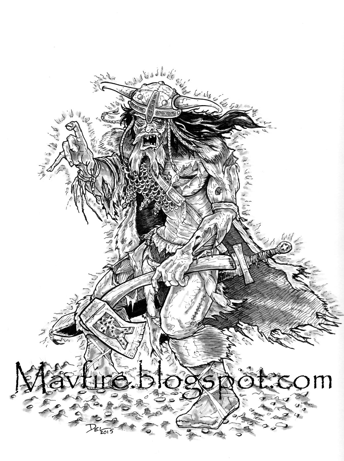 Radioactive Viking Zombie drawing Del Teigeler Mavfire
