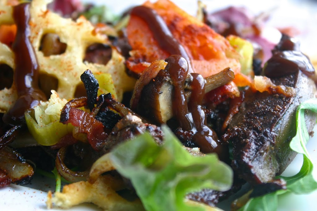 Liver, Onion, Bacon & Mushroom Salad with Waffle Crisps