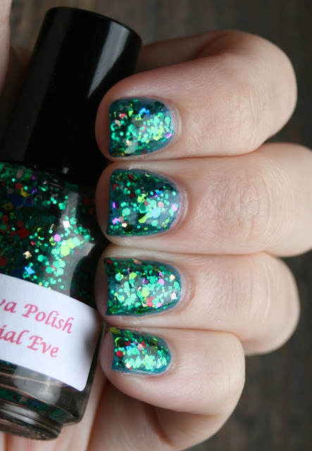 Darling Diva Polish - Mitochondrial Eve over LA Girl Deep Sea Mica swatch