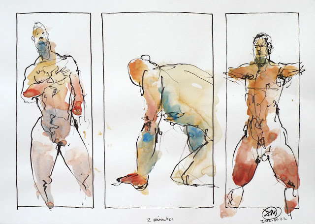2 minute ink and watercolour sketches by David Meldrum