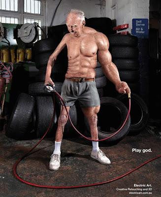 Publicidad viejito con musculos