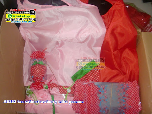 tas satin strawberry mika permen grosir