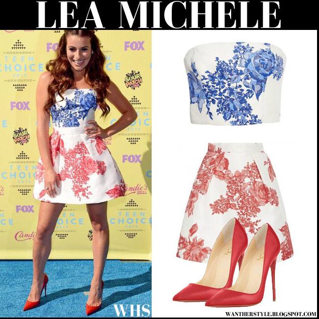 Lea Michele in floral print crop top and pleated mini skirt monique lhuillier teen choice awards 2015