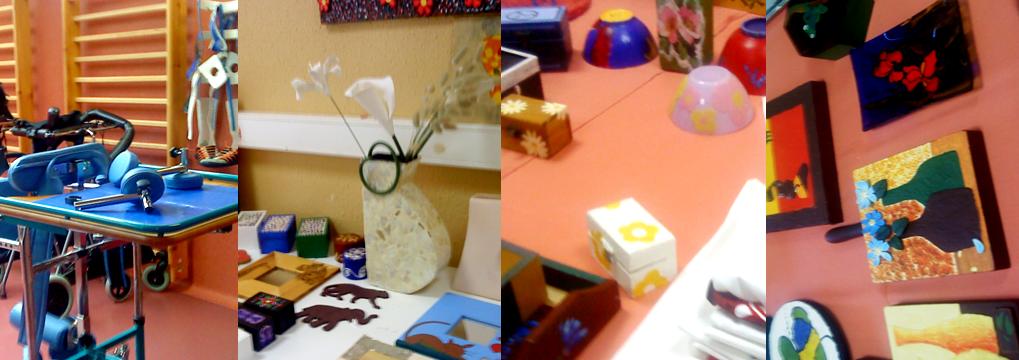 Collage con un detalle de una dependencia del Centro y trabajos de los alumnos