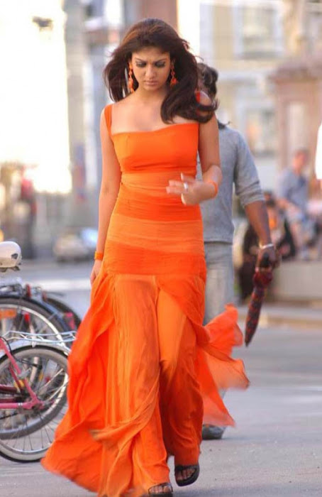 nayanthara in orange dress latest photos