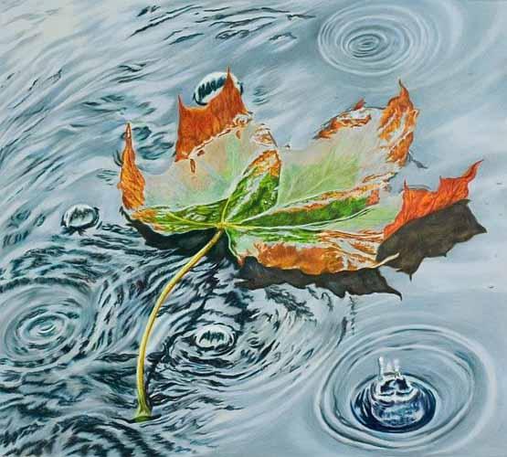 رسم ورة فوق الماء بالباستيل