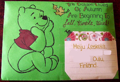 thats the way the cookie crumbles, mail, art, mailart, envelope, mail, art, winnie the pooh, pooh bear, bear, autumn, leaves, falling