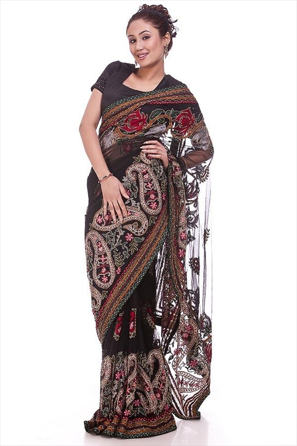 new Black Net Saree