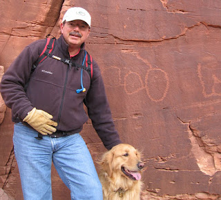 Scout and me in front of the 'map' petroglyph