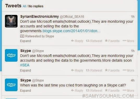 اختراق حساب Skype على تويتر من طرف الجيش السوري الإلكتروني