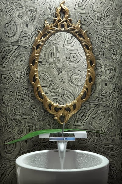 misterious bathroom illusion, stunning plumbing fixtures, charming golden framed mirror