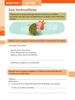 Apoyo Primaria Español 2do grado Bloque 2 lección 11 Los instructivos
