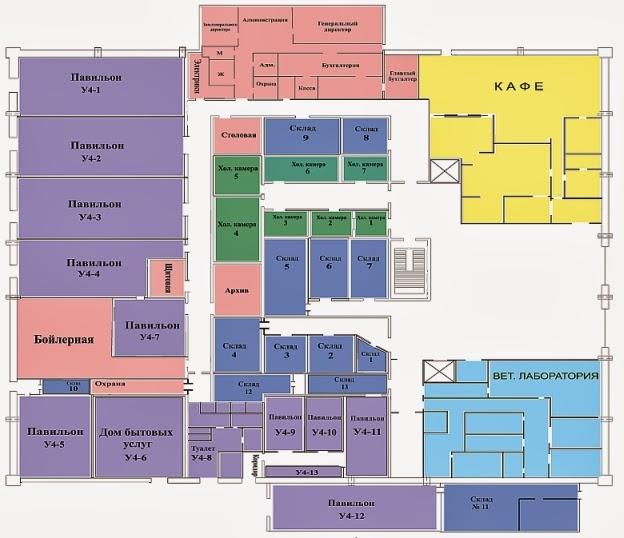 Схема цокольного этажа Усачёвского рынка: