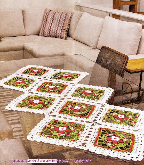 croche com receitas caminho de mesa em square de croche com receitas e gráficos