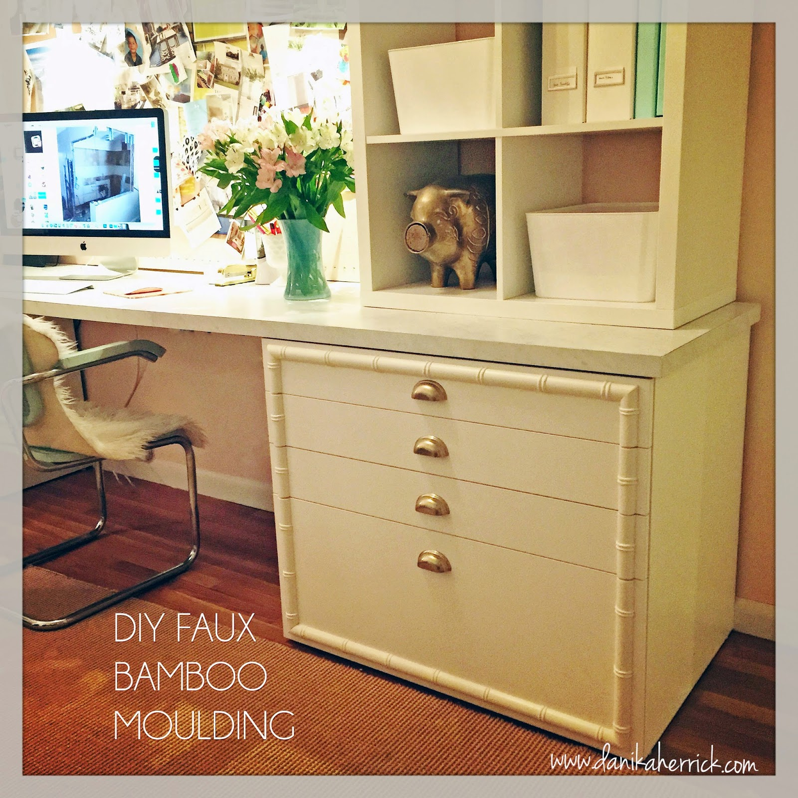 Base Cabinets For Desk Gorgeous Shiny Things Diy Faux Bamboo Moulding