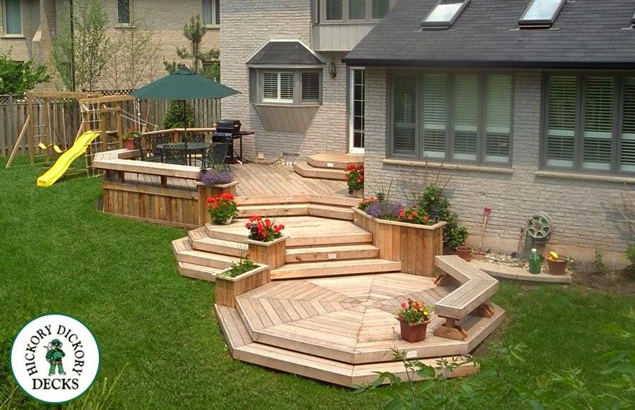 Multi Level Backyard Deck Planters And Benches Boxboro