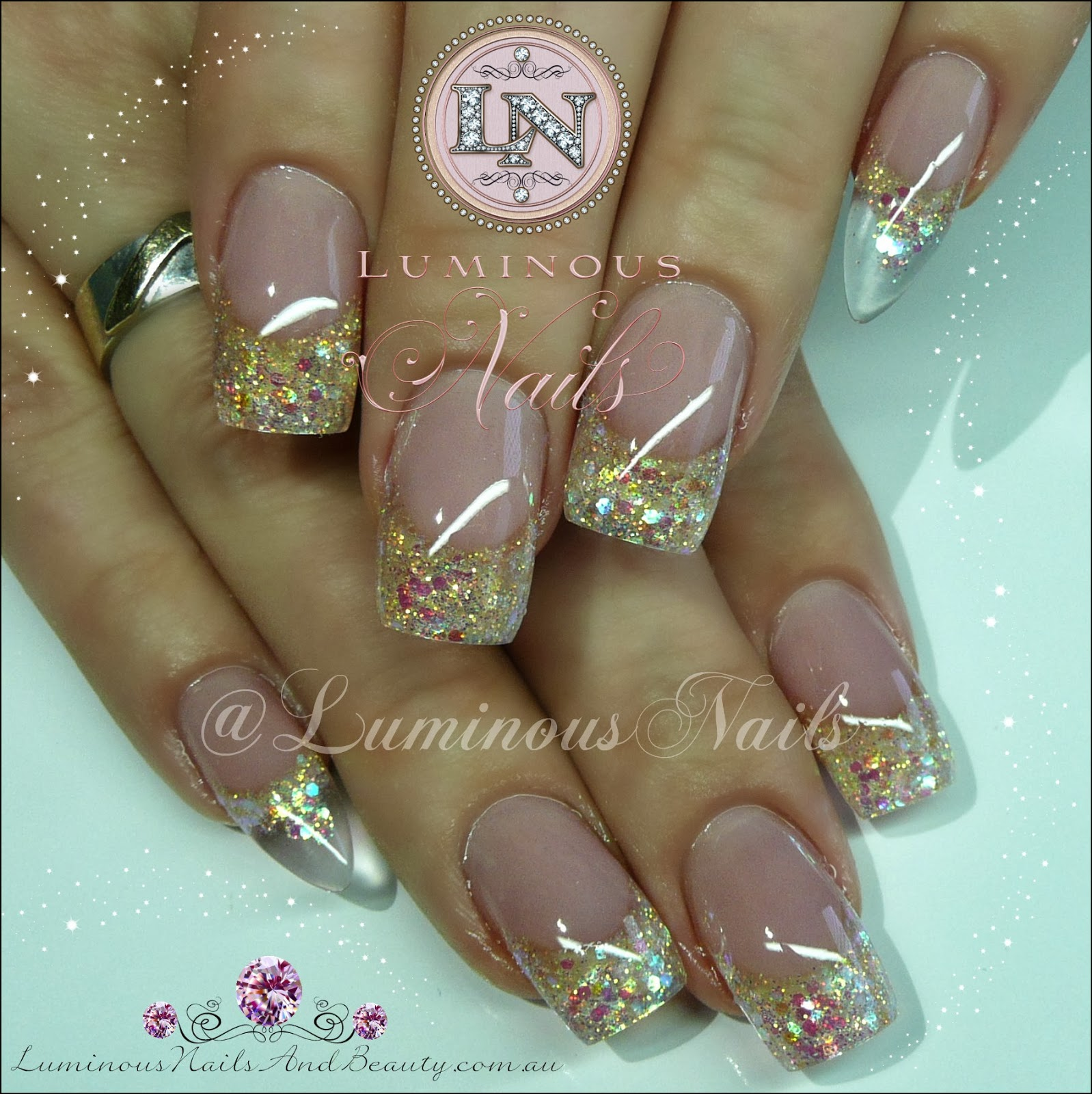 Rose Pink Gold Nails With