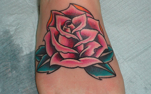 red rose tattoo. girlfriend pink rose tattoo