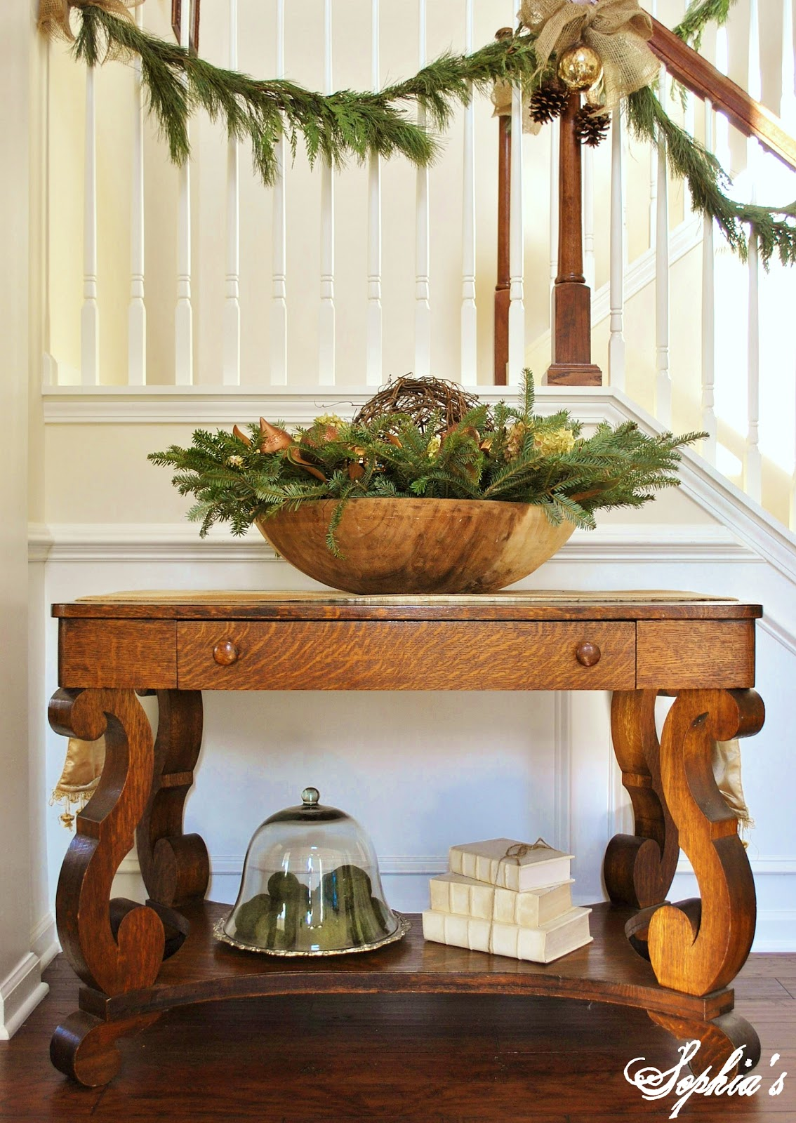Foyer Table Decor : Sophia s christmas stairs and entryway